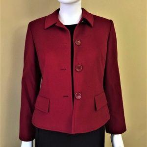 Ann Taylor Loft Blazer Jacket 8P Petites Red Wool