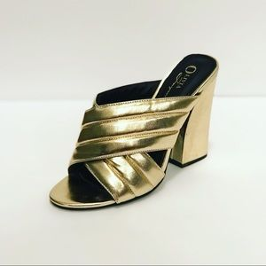 Not Gucci but great gold chunky heel mules