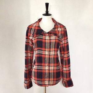 [Roxy] orange/navy/white plaid jacket