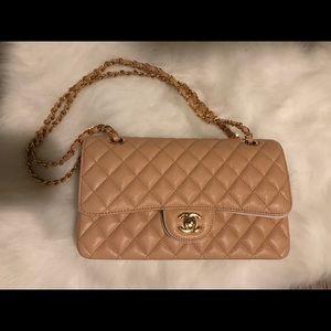 Handbags - Chanel Tan medium caviar leather classic handbag