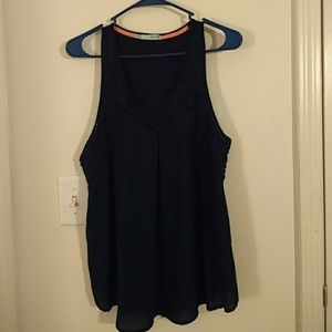 Maurices Navy Tank with Crochet Detail