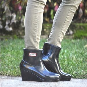 Hunter Aston ankle boots wedges size 8