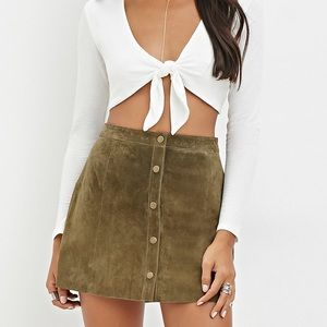 Forever 21 genuine olive color suede button skirt