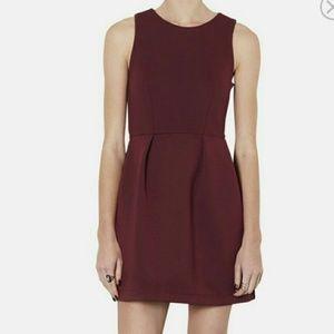 Topshop Burgundy Sleeveless Scuba Dress