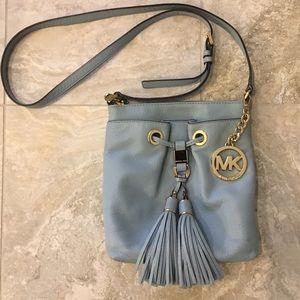 Michael Kors blue leather cross body tassel bag