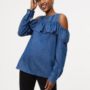 Chambray Flounce Cold Shoulder Blouse Top