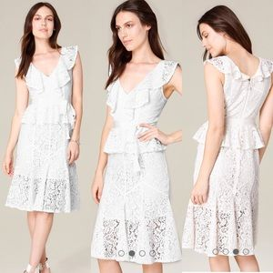 Bebe white lace ruffle dress
