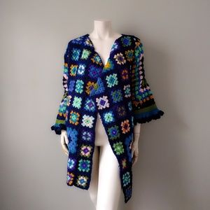 VTG Peacock Rainbow Granny Square Cardigan Coat