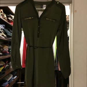 H&M olive green silk material long sleeve dress