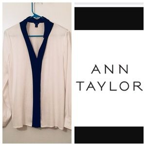 Ann Taylor White and Black Blouse
