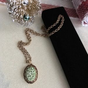 Vintage Necklace Green Ivory Cameo Style