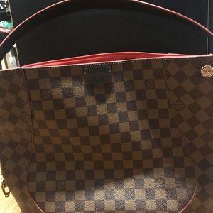 Louis Vuitton Damiere Eben leather shoulder bag
