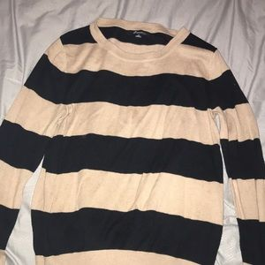 Tan and Black Forever 21 Striped Sweater