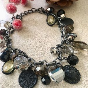 ✨NEW✨Smoke Crystal & Black Charm Bracelet