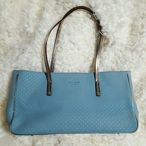 Kate spade suede blue tote metallic polka dot