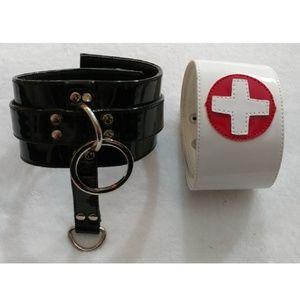 2 Wide Cuff Bracelets Anklecuff Punk Rock Gothic