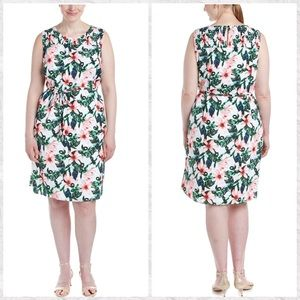 Vince Camuto Tropical Floral Smocked Shift Dress