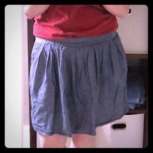 J. Crew jean skirt with white stripes