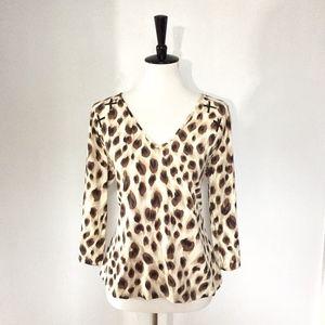[St. John] Sport animal print laced blouse