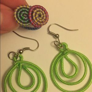 New handmade Green Earring and ring
