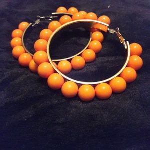 NWOT Orange beaded hoops