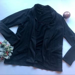 [Lucky Brand] Solid Black Open Front Cardigan
