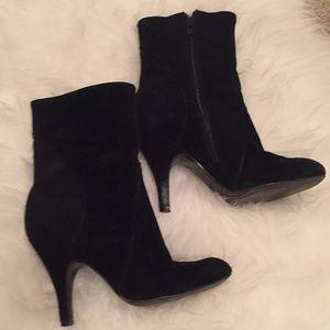 Black velvet booties. Size 5
