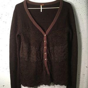 Free People fuzzy knit sweater L