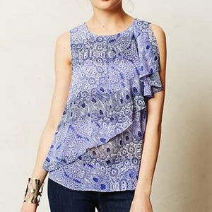 Anthropologie HD in Paris Blue Paisley Blouse Sz 2