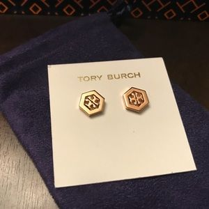Tory Burch Hex-Logo stud earrings