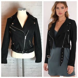 Moto Jacket Faux Suede Size: Small