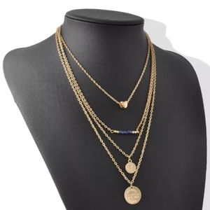 FOUR LAYER GOLD DISC, HEART & BLUE BEADS NECKLACE