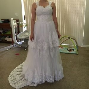 Custom Made Allure Lace Bead Corset Bridal Gown 8