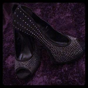 4 in Black suede heels