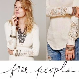 Free People Cream Synergy Thermal Long Sleeve Top