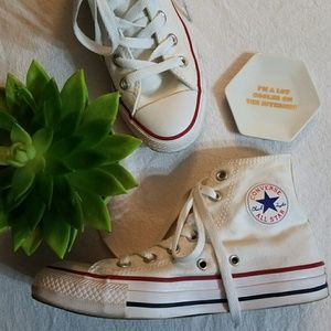 White unisex converse Chuck Taylor high tops