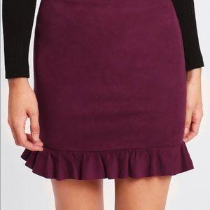 Dresses & Skirts - 🆕💧Merlot ruffle hem suede mini skirt