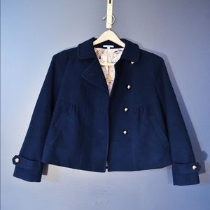 Anthropologie Navy Leifnotes Cropped Coat