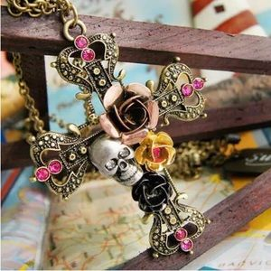 CLASSIC CRYSTAL FLOWERS, CROSS & SKULL NECKLACE