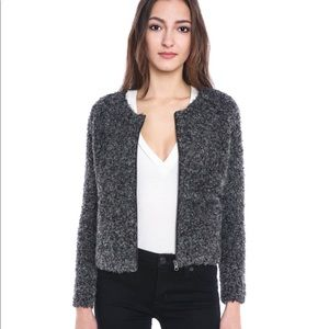 Blue Zip-Front Eyelash Sweater