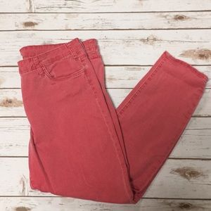 Faded Red Ankle Jeans