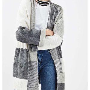 Topshop patchwork oversize open cardigan