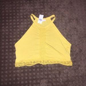Yellow crochet halter crop top