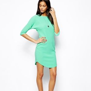 ASOS Bat Wing Shift Ribbed Mint Green Dress