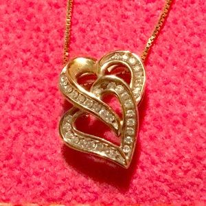 10k gold double hearted necklace