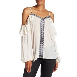 NWT Pleione Cold Shoulder Embroidered Shirt