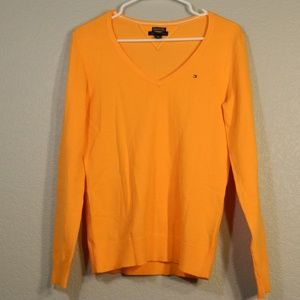 Bright Orange Tommy Hilfiger V Neck Sweater