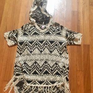 Oversized tribal tunic sweater with fringe