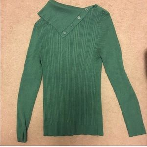 Sweaters - Green cowl neck sweater ribbed Christmas
