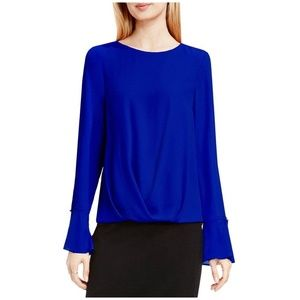 Vince Camuto Anchor Blue Bell Sleeve Blouse